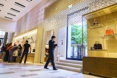 Vista interna da loja Louis Vuitton Fotografia de Stock Royalty Free