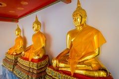 Vista interna de estátuas agradáveis da Buda do ouro em seguido em Wat Pho Temple em Tailândia Foto de Stock Royalty Free