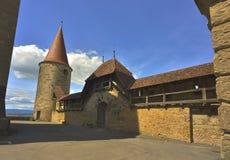 Vista interna dei d'Avenches del castello Immagine Stock
