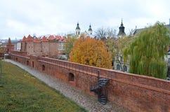 Vista interna del barbacane di Varsavia a Varsavia, Polonia Fotografie Stock
