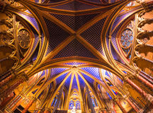 Vista interna del Sainte Chapelle, Parigi, Francia. Fotografia Stock Libera da Diritti