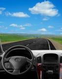 Vista interna dell'automobile all'alta velocità Fotografia Stock Libera da Diritti