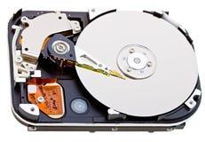 Vista interna do disco rígido isolada no branco Imagens de Stock
