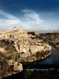 Vista inusual de Toledo, España Foto de archivo libre de regalías