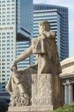 Vista ironica di architettura di passato e presente a Varsavia Fotografia Stock Libera da Diritti