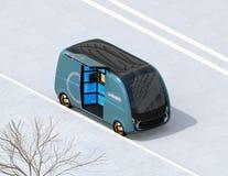 Vista isometrica del lato blu metallico di parcheggio del furgone di consegna della strada illustrazione vettoriale