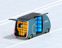 Vista isometrica del lato blu metallico di parcheggio del furgone di consegna della strada illustrazione di stock
