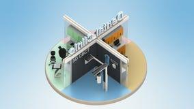 Vista isometrica dell'interno dentario della clinica illustrazione di stock