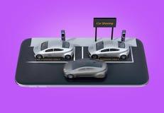 Vista isometrica delle automobili elettriche d'argento con il tabellone per le affissioni di car sharing sullo smartphone Fondo p Royalty Illustrazione gratis