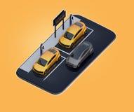 Vista isometrica delle automobili elettriche gialle con il tabellone per le affissioni di car sharing sullo smartphone Fondo gial Royalty Illustrazione gratis