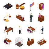 Vista isometrica delle icone 3d di concetto della sessione del tribunale Vettore royalty illustrazione gratis