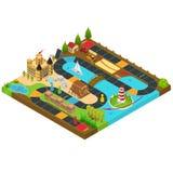 Vista isometrica di concetto 3d del gioco da tavolo Vettore Fotografia Stock