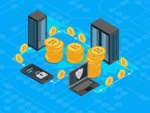 Vista isometrica di concetto 3d di estrazione mineraria di Bitcoin Vettore Immagini Stock