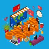 Vista isometrica online di concetto 3d del negozio Vettore royalty illustrazione gratis