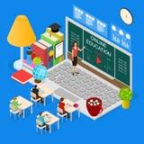 Vista isometrica online di concetto 3d di istruzione Vettore Fotografie Stock
