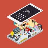 Vista isometrica online di concetto 3d di promozione sociale di media Vettore Illustrazione Vettoriale