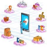 Vista isometrica piana di stile 3D dell'interfaccia online di applicazione di acquisto di commercio elettronico Fotografia Stock Libera da Diritti
