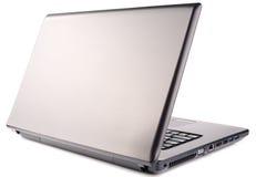 Vista isometrica posteriore del computer portatile su bianco Fotografia Stock Libera da Diritti