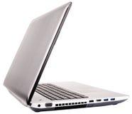 Vista isometrica posteriore del computer portatile su bianco Fotografie Stock