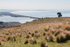 Vista a la bahía de Christchurch y de Pegaso, Nueva Zelanda Imagen de archivo libre de regalías
