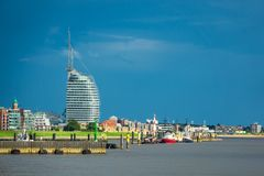 Vista a la ciudad Bremerhaven en Alemania fotos de archivo libres de regalías