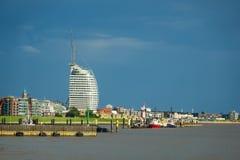Vista a la ciudad Bremerhaven en Alemania imagenes de archivo