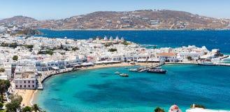 Vista a la ciudad de la isla de Mykonos, Grecia Imágenes de archivo libres de regalías