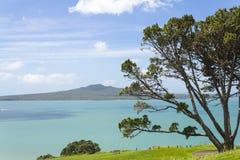Vista a la isla de Rangitoto de la cabeza del norte Auckland Nueva Zelanda fotografía de archivo libre de regalías