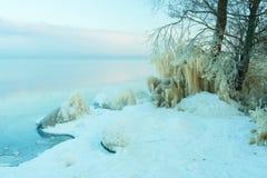 Vista a la playa congelada Fotografía de archivo