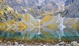 Vista a la vaina Rysami, lago del staw de Czarny en las montañas de Tatry Imagen de archivo