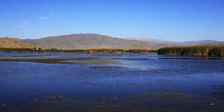 Vista a lamella del lago in Cina di nord-ovest Fotografia Stock Libera da Diritti