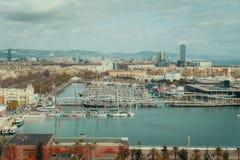 Vista larga do ponto culminante da baía e da cidade, Barcelona Fotos de Stock Royalty Free