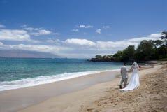 Vista larga esotica di cerimonia nuziale di spiaggia Immagini Stock Libere da Diritti