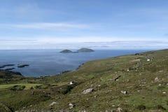 Vista a las islas de Deenish y de Scariff Imágenes de archivo libres de regalías