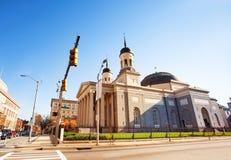 Vista lateral da basílica de Baltimore, Maryland, EUA fotos de stock