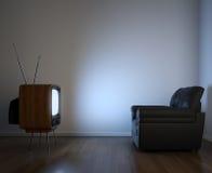 Vista lateral da tevê e do sofá Imagens de Stock