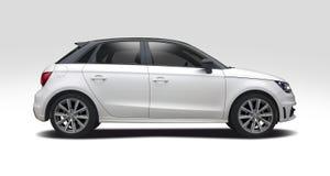 Vista lateral de Audi A1 aislada en blanco Foto de archivo libre de regalías