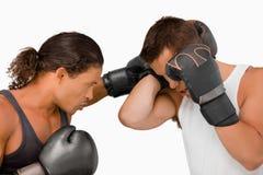 Vista lateral de dos boxeadores de sexo masculino Fotos de archivo libres de regalías
