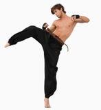 Vista lateral de golpear el combatiente de los artes con el pie marciales Fotografía de archivo libre de regalías