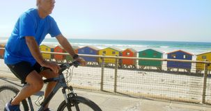 Vista lateral de la bicicleta caucásica mayor activa del montar a caballo del hombre en una 'promenade' en la playa 4k metrajes