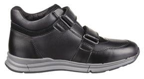 Vista lateral de la bota masculina de cuero negra y gris Fotografía de archivo libre de regalías