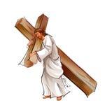 Vista lateral de la cruz de la explotación agrícola del Jesucristo Foto de archivo libre de regalías