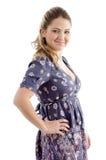 Vista lateral de la hembra joven sonriente Fotografía de archivo