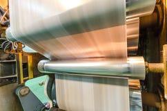 Vista lateral de la máquina de la impresión del roto del periódico Fotografía de archivo libre de regalías