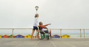 Vista lateral de la mujer afroamericana mayor activa que empuja al hombre discapacitado en silla de ruedas en la 'promenade' 4k almacen de metraje de vídeo