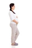 Vista lateral de la mujer embarazada Foto de archivo libre de regalías