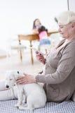 Vista lateral de la mujer mayor que usa la tableta digital por el perro en casa Imagen de archivo
