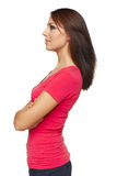 Vista lateral de la mujer que mira adelante Imágenes de archivo libres de regalías