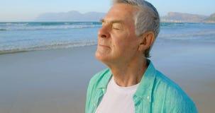 Vista lateral de la situación caucásica mayor activa del hombre con los ojos cerrados en la playa 4k metrajes