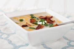 Vista lateral de la sopa del puerro de la patata Foto de archivo libre de regalías